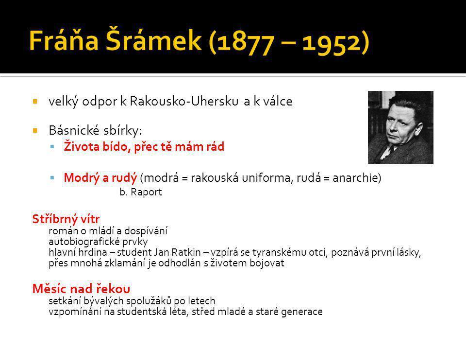 Fráňa Šrámek (1877 – 1952) velký odpor k Rakousko-Uhersku a k válce