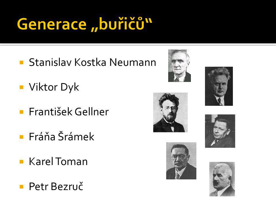 "Generace ""buřičů Stanislav Kostka Neumann Viktor Dyk"