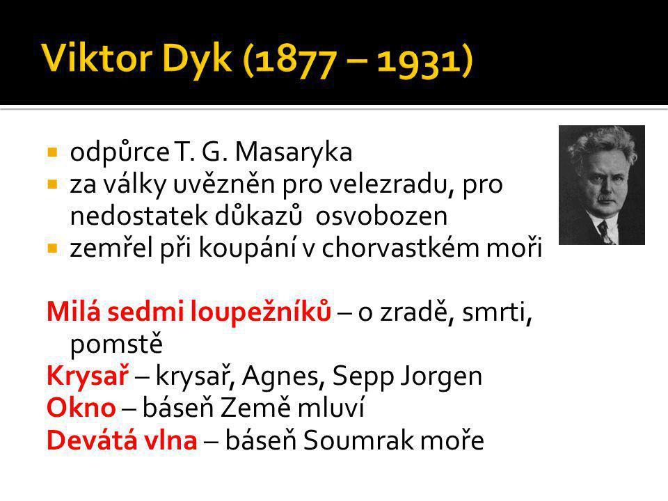 Viktor Dyk (1877 – 1931) odpůrce T. G. Masaryka