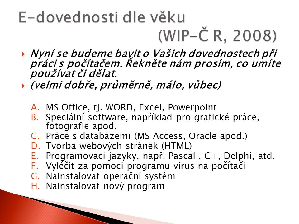 E-dovednosti dle věku (WIP-Č R, 2008)