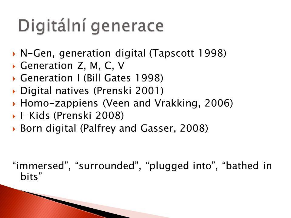 Digitální generace N-Gen, generation digital (Tapscott 1998)