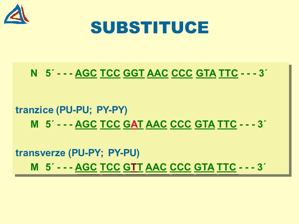 SUBSTITUCE N 5´ - - - AGC TCC GGT AAC CCC GTA TTC - - - 3´