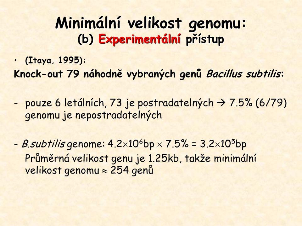 Minimální velikost genomu: (b) Experimentální přístup