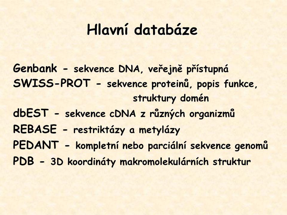 Hlavní databáze Genbank - sekvence DNA, veřejně přístupná