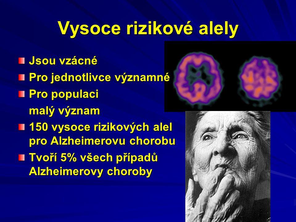 Vysoce rizikové alely Jsou vzácné Pro jednotlivce významné