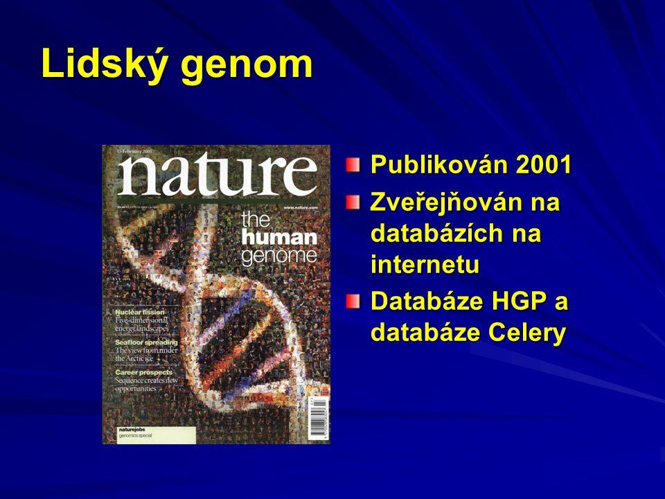 Lidský genom Publikován 2001 Zveřejňován na databázích na internetu