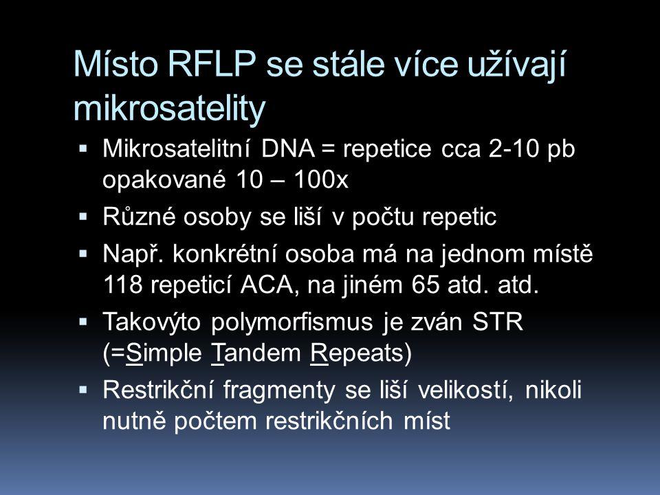 Místo RFLP se stále více užívají mikrosatelity