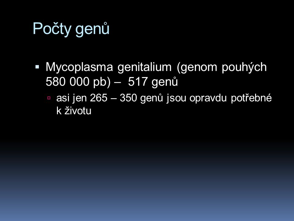 Počty genů Mycoplasma genitalium (genom pouhých 580 000 pb) – 517 genů