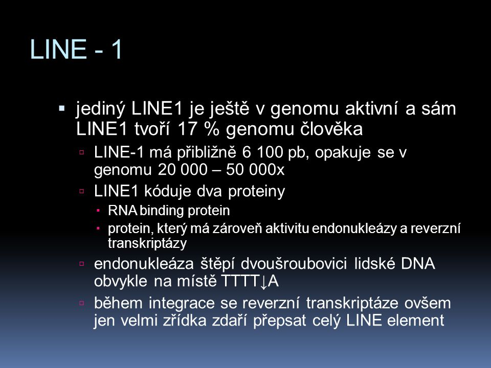 LINE - 1 jediný LINE1 je ještě v genomu aktivní a sám LINE1 tvoří 17 % genomu člověka.
