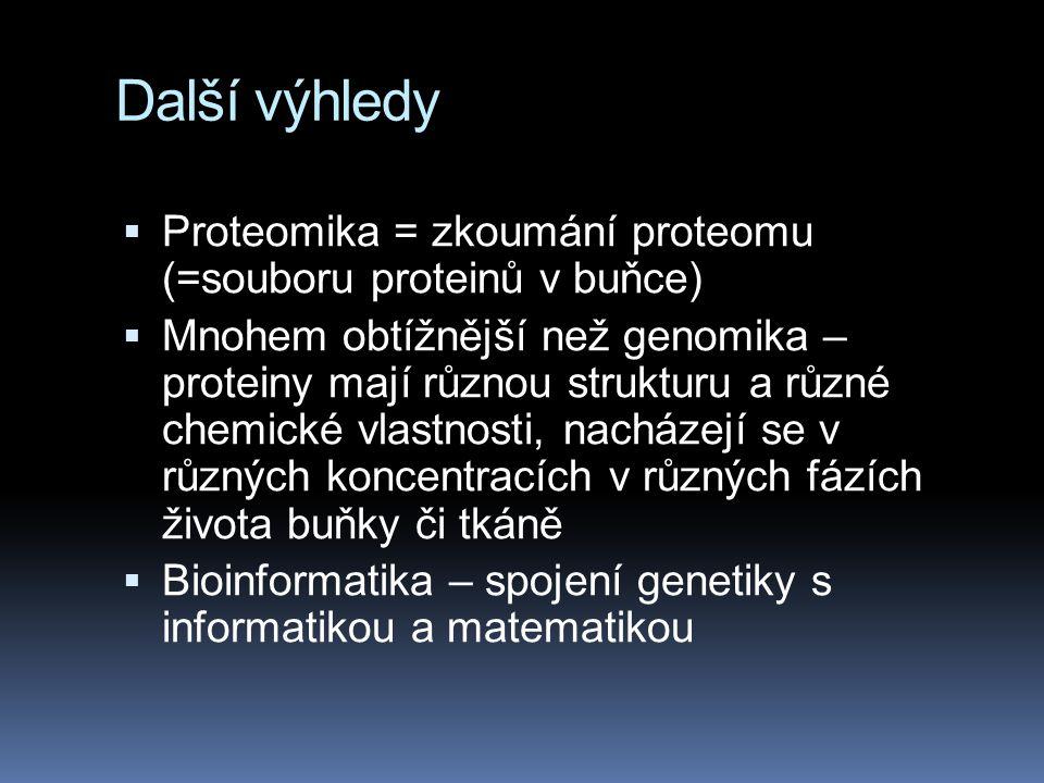 Další výhledy Proteomika = zkoumání proteomu (=souboru proteinů v buňce)