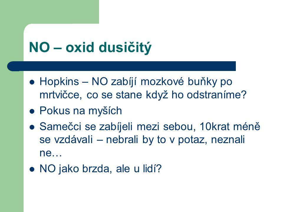 NO – oxid dusičitý Hopkins – NO zabíjí mozkové buňky po mrtvičce, co se stane když ho odstraníme Pokus na myších.