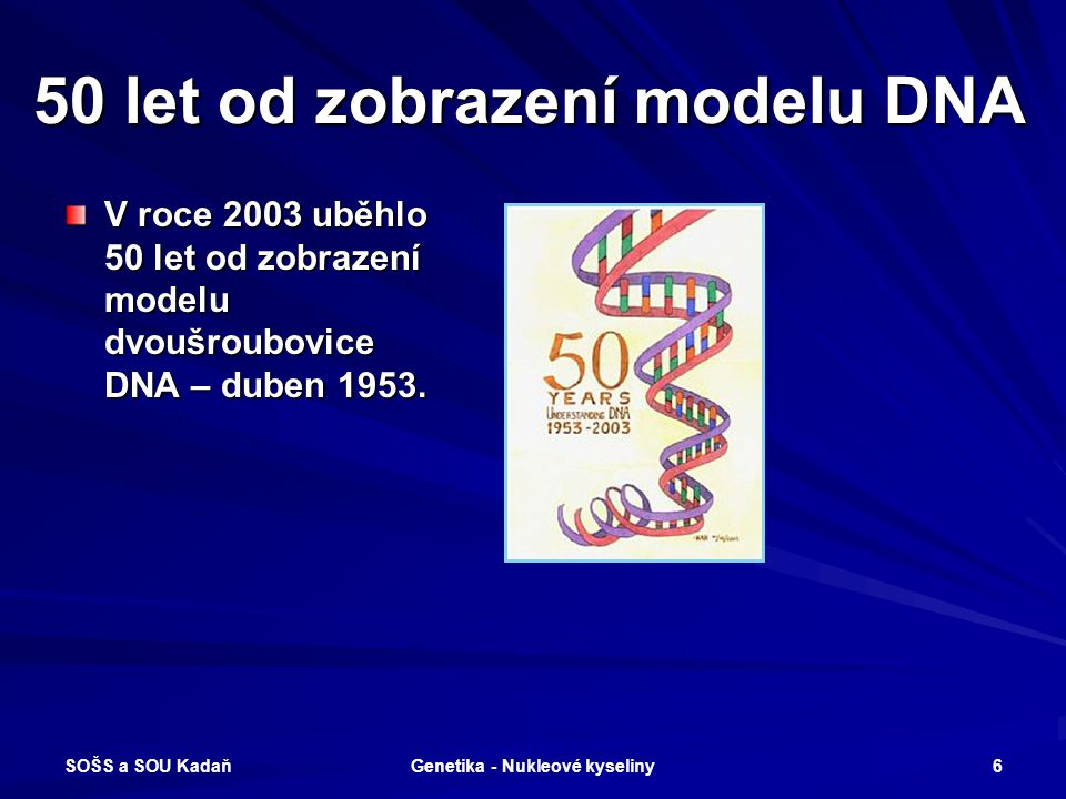 50 let od zobrazení modelu DNA