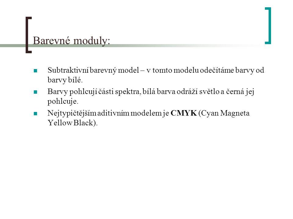 Barevné moduly: Subtraktivní barevný model – v tomto modelu odečítáme barvy od barvy bílé.