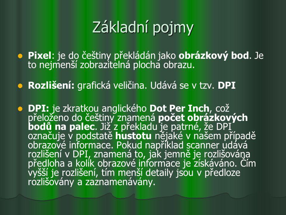 Základní pojmy Pixel: je do češtiny překládán jako obrázkový bod. Je to nejmenší zobrazitelná plocha obrazu.