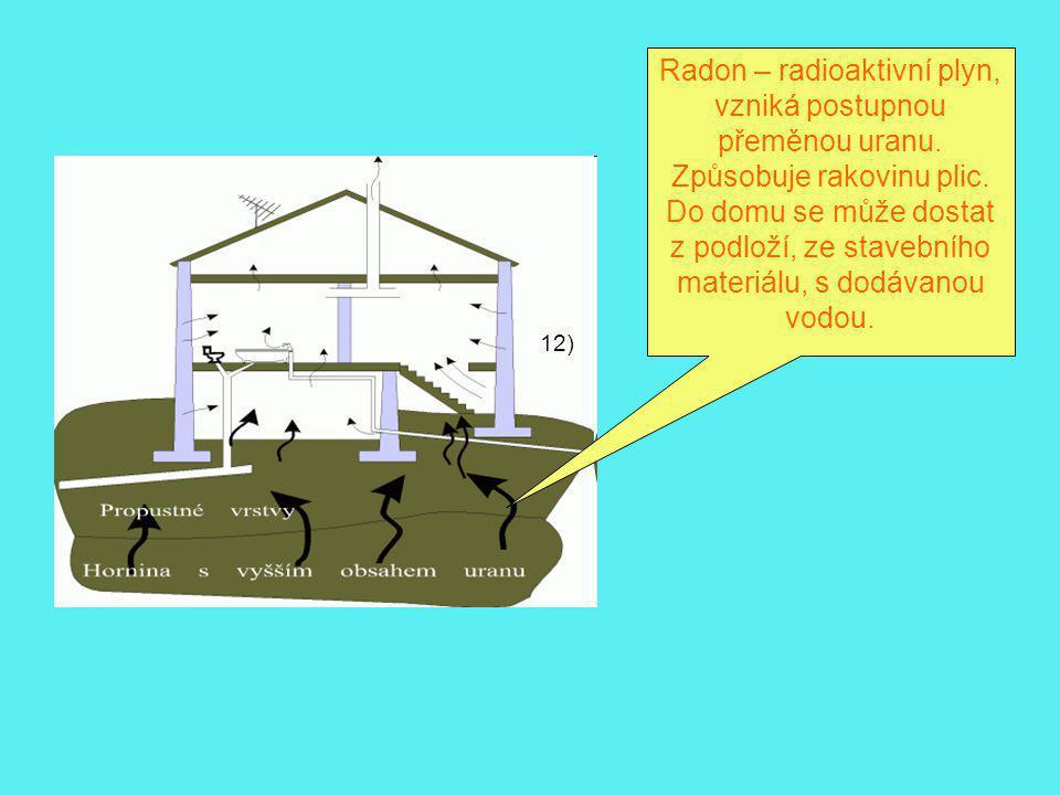 Radon – radioaktivní plyn, vzniká postupnou přeměnou uranu