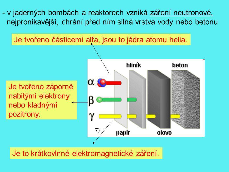 v jaderných bombách a reaktorech vzniká záření neutronové,