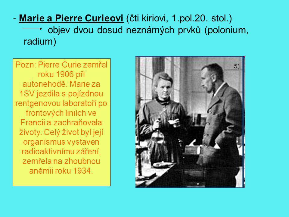 - Marie a Pierre Curieovi (čti kiriovi, 1.pol.20. stol.)