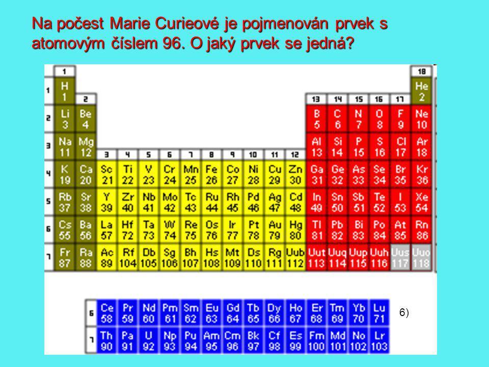 Na počest Marie Curieové je pojmenován prvek s