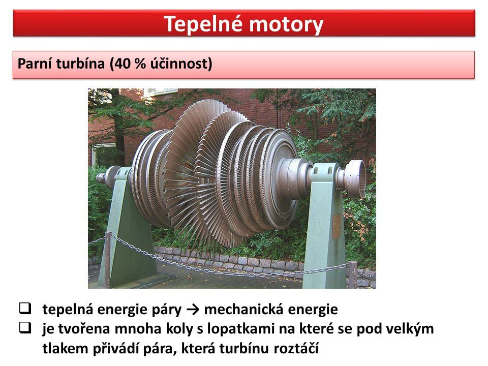 Tepelné motory Parní turbína (40 % účinnost)