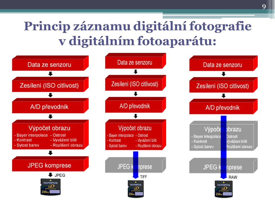 Princip záznamu digitální fotografie v digitálním fotoaparátu:
