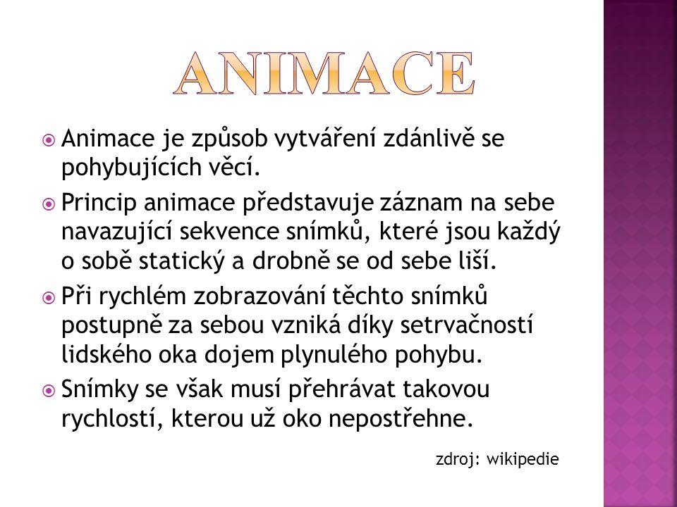 Animace Animace je způsob vytváření zdánlivě se pohybujících věcí.