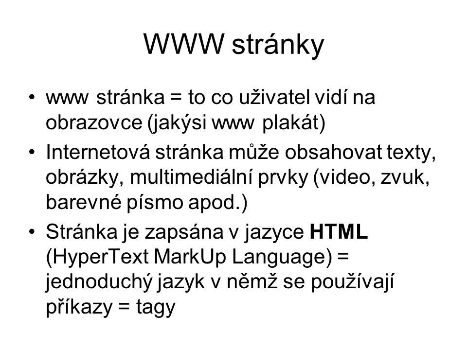 WWW stránky www stránka = to co uživatel vidí na obrazovce (jakýsi www plakát)