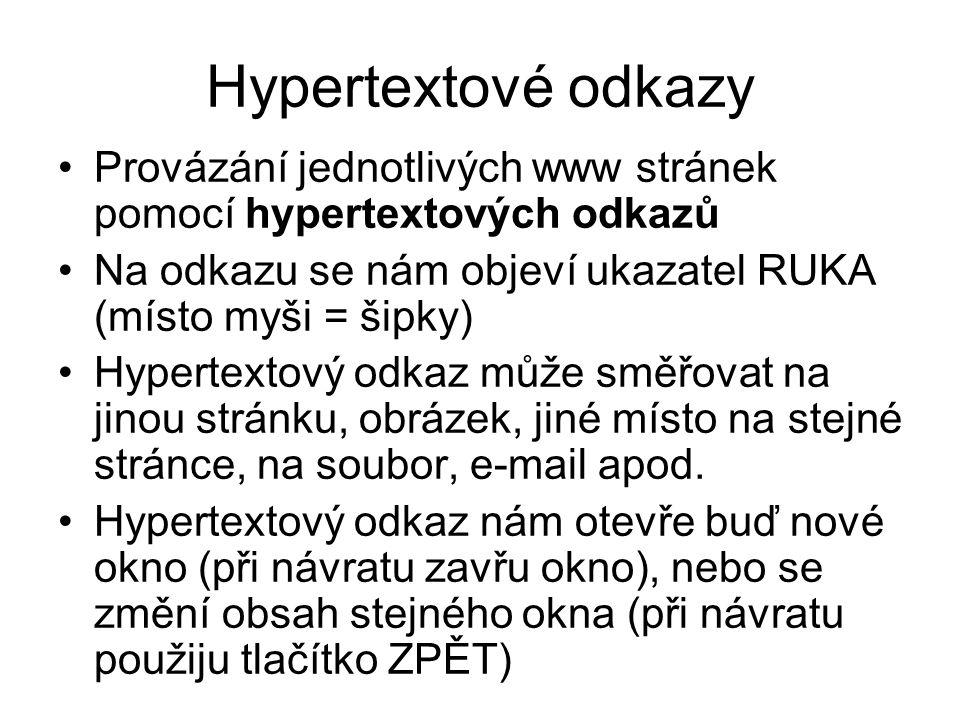Hypertextové odkazy Provázání jednotlivých www stránek pomocí hypertextových odkazů. Na odkazu se nám objeví ukazatel RUKA (místo myši = šipky)