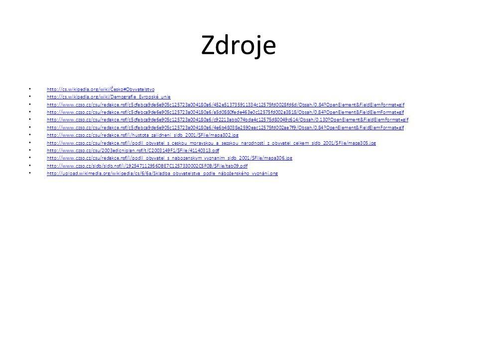 Zdroje http://cs.wikipedia.org/wiki/Česko#Obyvatelstvo