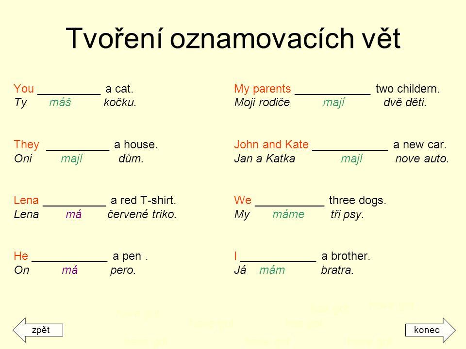 Tvoření oznamovacích vět