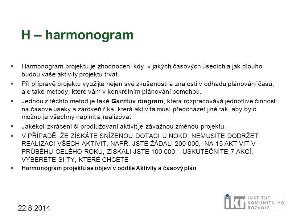 H – harmonogram Harmonogram projektu je zhodnocení kdy, v jakých časových úsecích a jak dlouho budou vaše aktivity projektu trvat.