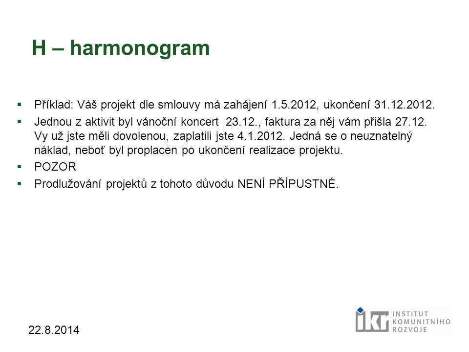 H – harmonogram Příklad: Váš projekt dle smlouvy má zahájení 1.5.2012, ukončení 31.12.2012.