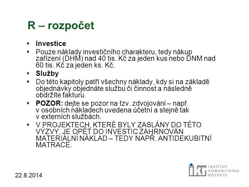 R – rozpočet Investice.