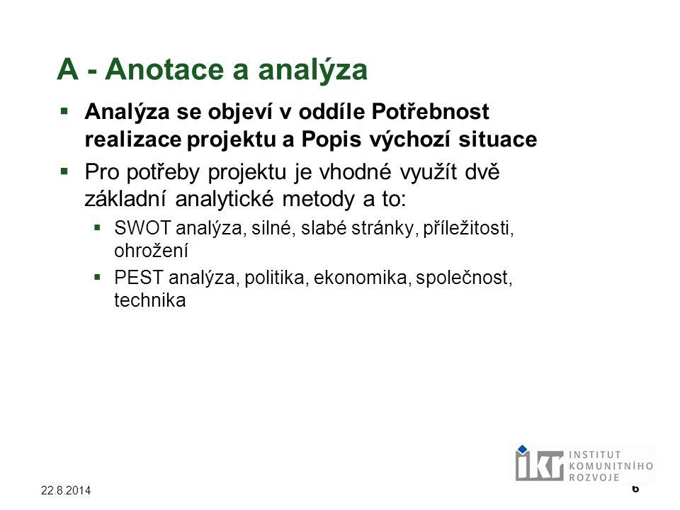 A - Anotace a analýza Analýza se objeví v oddíle Potřebnost realizace projektu a Popis výchozí situace.