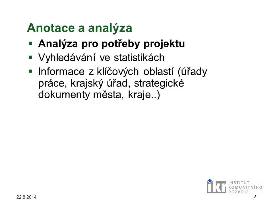 Anotace a analýza Analýza pro potřeby projektu