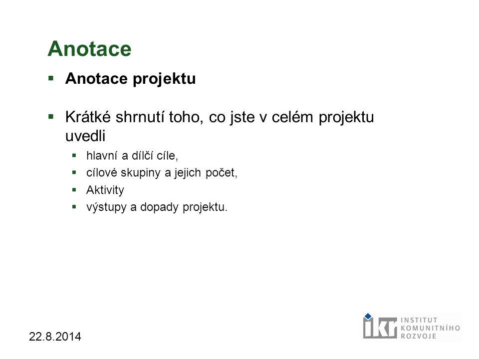 Anotace Anotace projektu