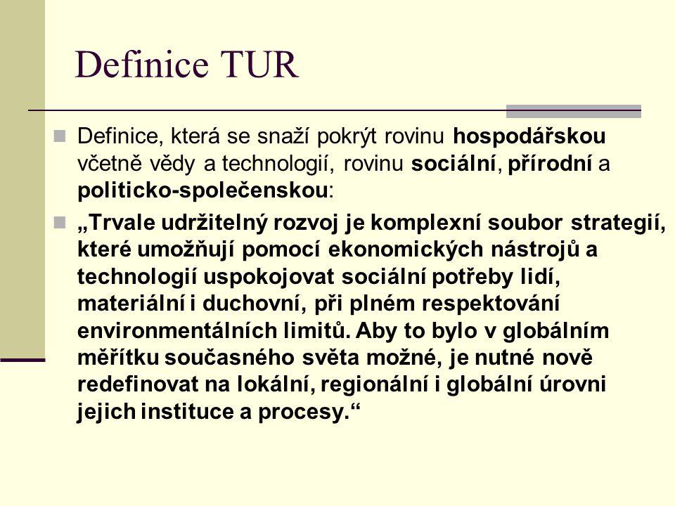Definice TUR Definice, která se snaží pokrýt rovinu hospodářskou včetně vědy a technologií, rovinu sociální, přírodní a politicko-společenskou: