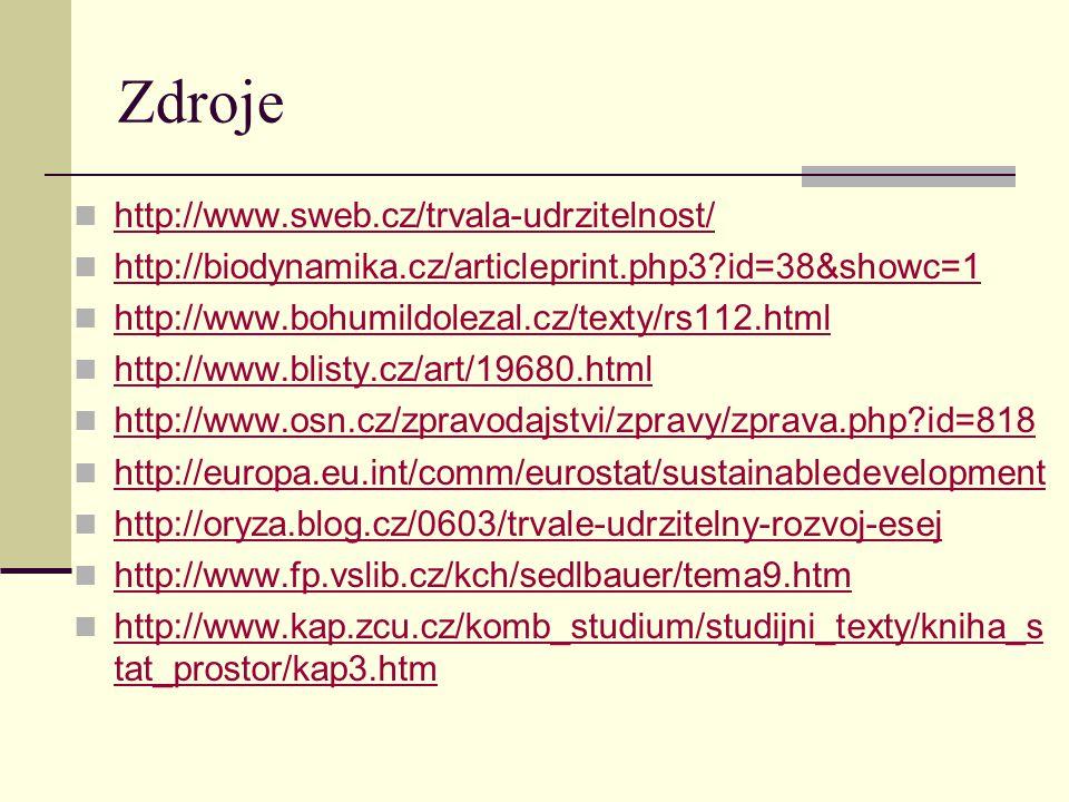 Zdroje http://www.sweb.cz/trvala-udrzitelnost/