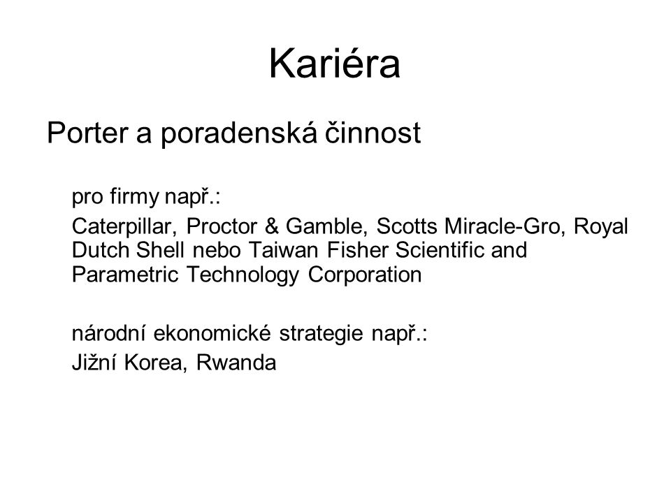 Kariéra Porter a poradenská činnost pro firmy např.: