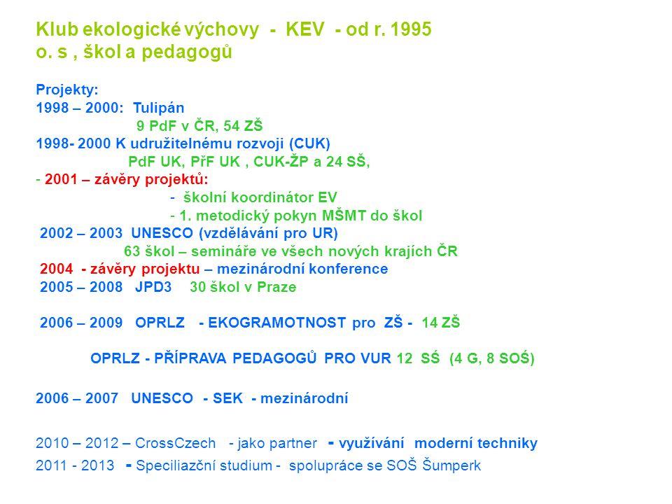 Klub ekologické výchovy - KEV - od r. 1995 o. s , škol a pedagogů