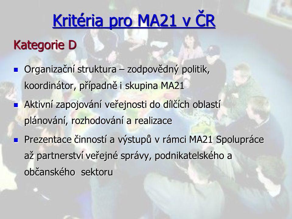 Kritéria pro MA21 v ČR Kategorie D