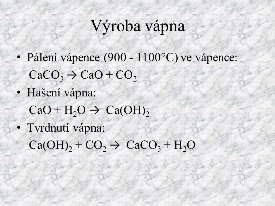 Výroba vápna Pálení vápence (900 - 1100°C) ve vápence: