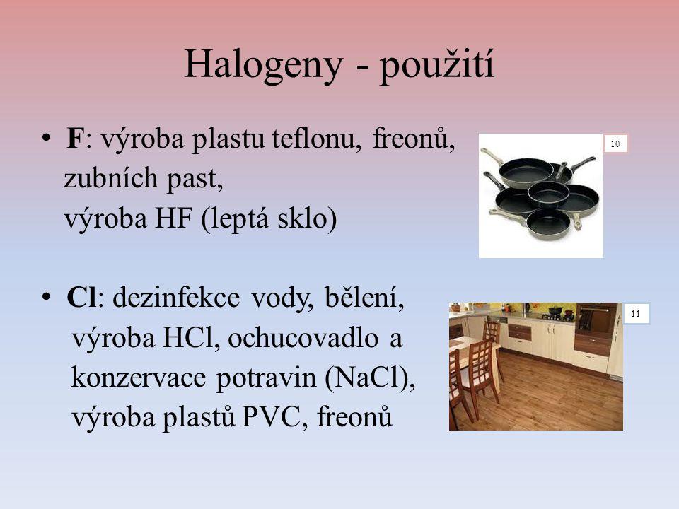 Halogeny - použití F: výroba plastu teflonu, freonů, zubních past,