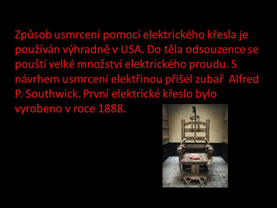 Způsob usmrcení pomocí elektrického křesla je používán výhradně v USA