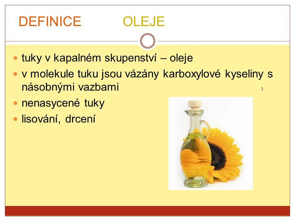 DEFINICE OLEJE tuky v kapalném skupenství – oleje
