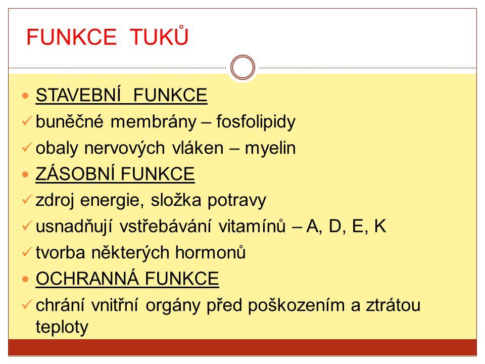 FUNKCE TUKŮ STAVEBNÍ FUNKCE buněčné membrány – fosfolipidy