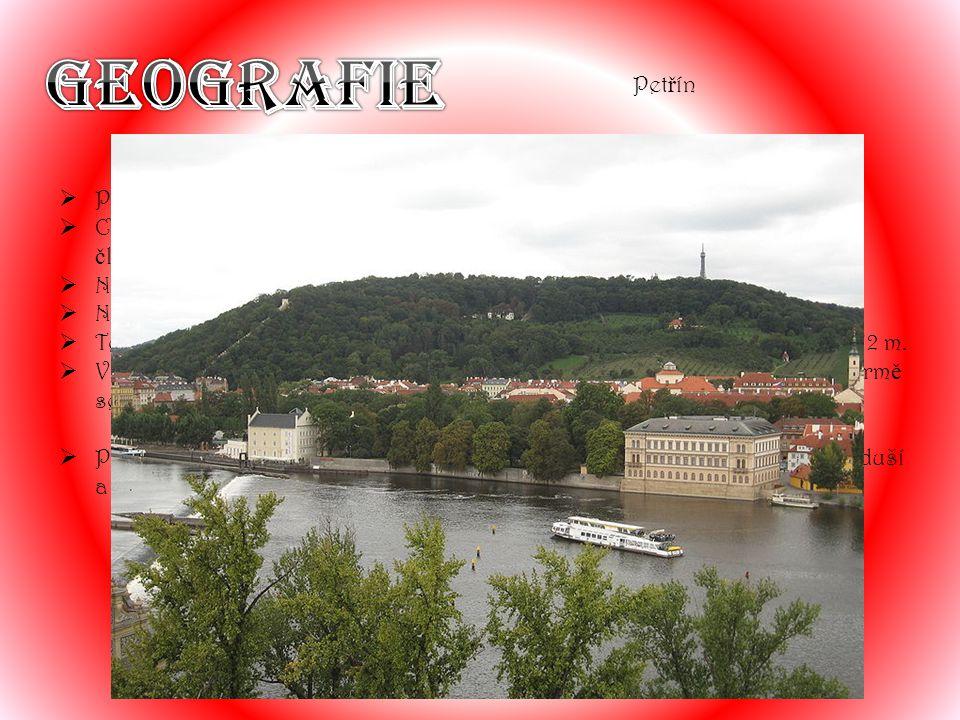 Geografie Petřín Praha leží mírně na sever od středu Čech.