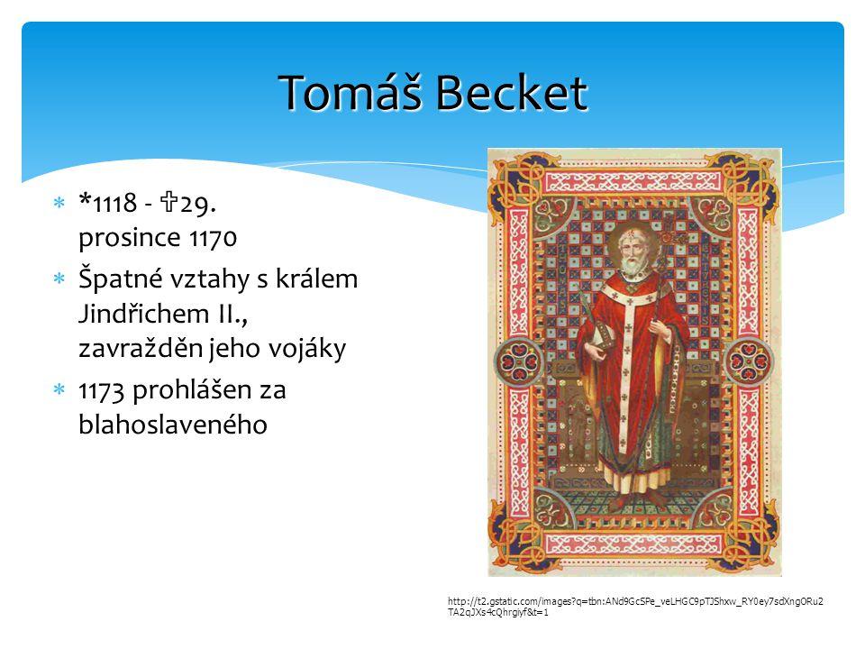 Tomáš Becket *1118 - 29. prosince 1170