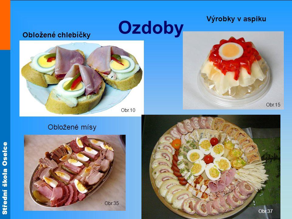 Ozdoby Výrobky v aspiku Obložené chlebíčky Obložené mísy Obr.15 Obr.10