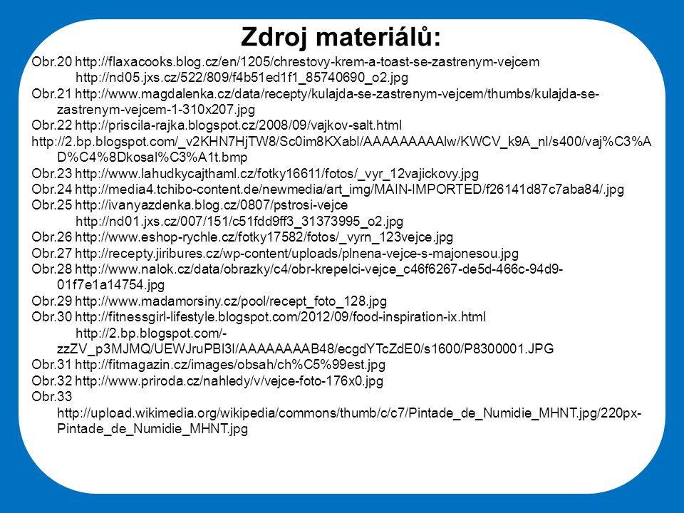 Zdroj materiálů: Obr.20 http://flaxacooks.blog.cz/en/1205/chrestovy-krem-a-toast-se-zastrenym-vejcem.