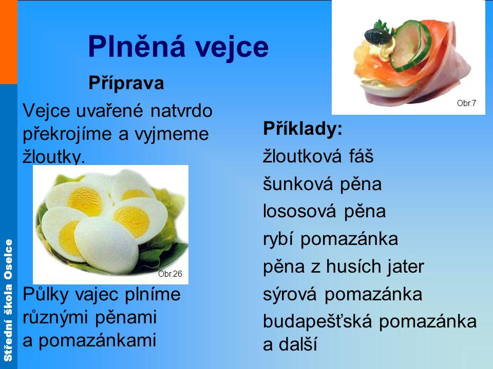 Obr.7 Plněná vejce. Příprava. Vejce uvařené natvrdo překrojíme a vyjmeme žloutky. Půlky vajec plníme různými pěnami a pomazánkami.